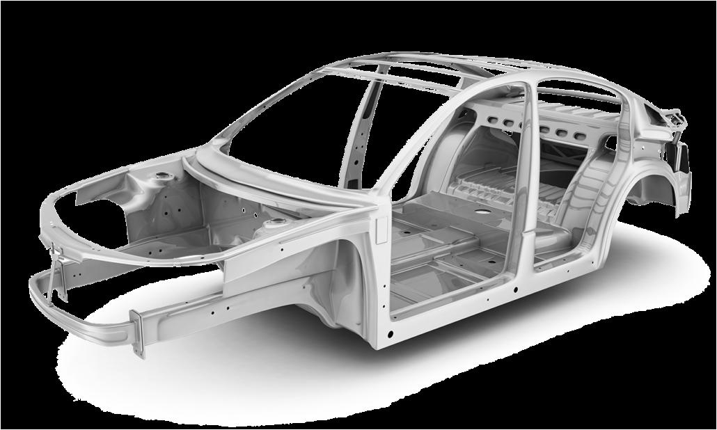 Karosserie, an der gezeigt wird, wo KOHLHAGE Strukturbauteile verwendet werden